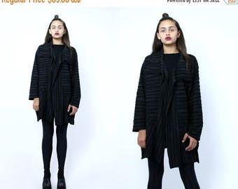 FLASHSALE 35% OFF Vintage 90's Black Minimalist Striped Monochromatic Slouchy  Textured Asymmetrical Patchwork Avant Garde Shirt Tunic Top S