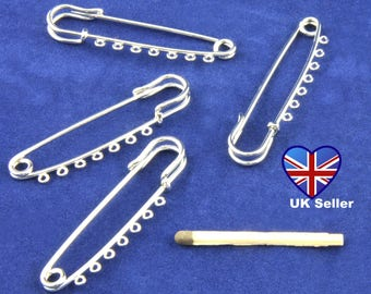 UK Seller. Cheap UK Postage. 4x Silver Metal 5.5cm Kilt Pins with 7 Loops.
