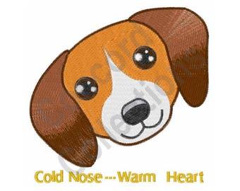 Dog Head - Machine Embroidery Design, Beagle, Cold Nose ... Warm Heart