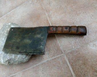 PRIMITIVE CLEAVER Knife Meat & Veg Chopper OLD Vintage Farmhouse Bladeantique hand-forget meat cleaver butcher knife chopeer