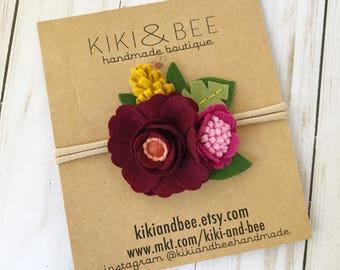Magnolia Headband // Felt flower crown headband // Autumn Berry headband // kikiandbee