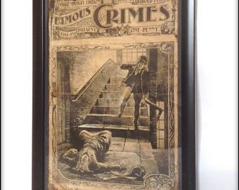 Aged reproduction Famous Crimes magazine Jack the Ripper cover in frame.