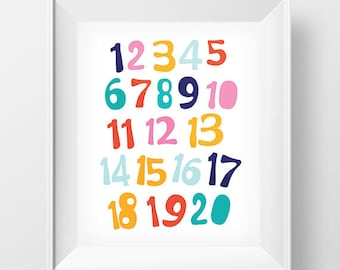 Numbers wall art printable, Printable Kids Gift, Printable Wall Art, Nursery wall Art, Wall Art, Printable Typography Sold Out, Home Decor