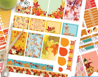 September printable planner stickers,September Autumn BIG MAMBI Happy planner, Weekly Kit, big happy Instant download