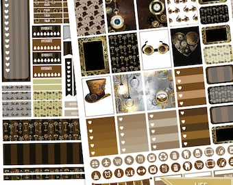 Steampunk Printable Planner Stickers,Steampunk Weekly Kit for use with Erin Condren LifePlanner 2017/ 18 Filofax, Plum Paper, Scrapbooking