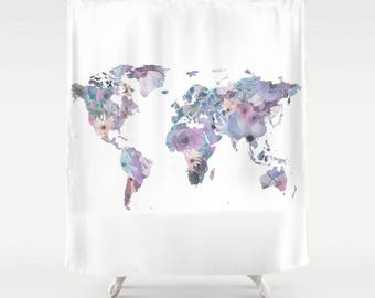 World Map Shower Curtain, Watercolor Shower Curtain, Globe Bath Decor, Floral Shower Curtain, Bathroom Accessories, Floral Travel Decor