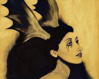 2 Golden Untitled (Elk) - 38x46cm acrylic and ink painting portrait woman black and gold