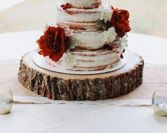 Wood Slab Cake Stand! Wood Slice, Cake Stand, Wood Slab, Rustic Cake
