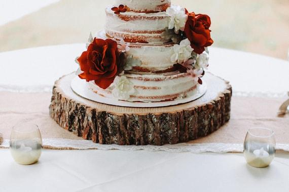 Wood slab cake stand Wood slice cake stand wood slab