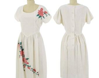 40s Ivory Rose Print Dress-1940s  Day Dress-Tea Length-Rayon Linen Blend-Summer-Informal Wedding-Garden Party-Ladylike-Feminine-M-Med