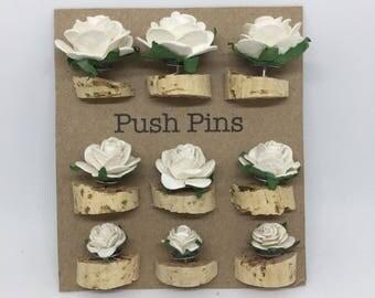 Ivory Rose Push Pins, Thumb Tacks, Decorative Push pins, Pin Board, desk accessories, cubicle decor, drawing pin, bulletin board,