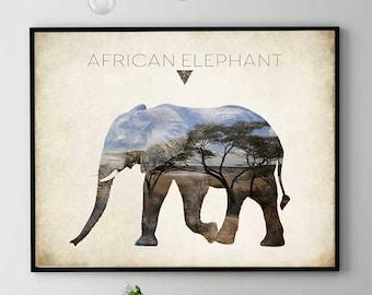 Elephant Print, African Elephant Print, Elephant Wall Art, Elephant Painting, Elephant Spirit, Elephant Home Decor (N421)
