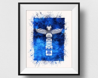 Native American Totem Print, Native American Symbol Art, American Wall Art, Spiritual Wall Decor, Native Wall Art, Native Home Decor (N525)