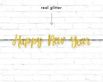 HAPPY NEW YEAR Banner | Gold Glitter Banner | New Year Banner | Glitter Banner | Black and Gold Banner | Black Banner | 2018 Decoration