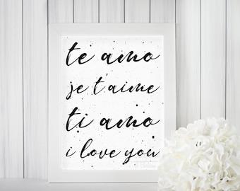 I Love You--multiple languages print