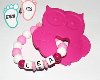 Rattle teething OWL personalized name