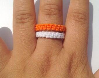 Orange and white hemp ring, macrame ring, stackable ring, unisex ring, loop ring, gift ring, boho ring, braided ring