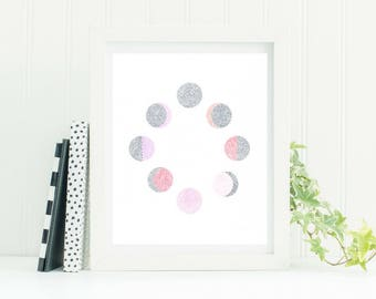 Moon Phase Grey and Pink Dotwork Print