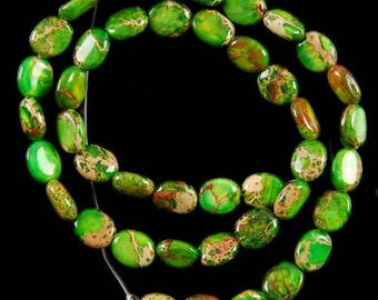 2 BEADS JASPER GREEN OVAL 12 X 8 X 4 MM MARINE SEDIMENT.