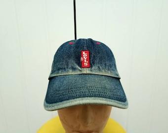 Rare Vintage LEVIS Denim Cap Hat Free Size Fit All