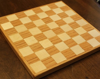 Handmade Solid Wood Checkerboard, Chess board, Red Oak and Maple Wood