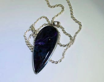 Sugilite Inverted Teardrop Pendant 1 5/8 by 3/4 inch Purple Lighting in radiance with 20 Inch 925 Sterling Silver 2MM Rope Chain