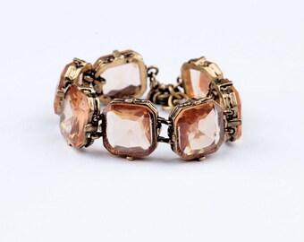 Vintage Crystal pink charm bracelet