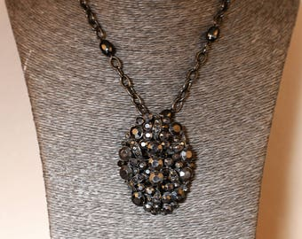 Locket necklace all black crystal rhinestones