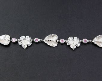 Large Hibiscus and Anthurium Flowers Handband Chain Bracelet with Pink Stones in Sterling Silver