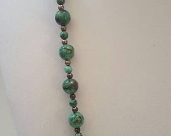 ON SALE Vintage Sterling Silver and Stone Necklace