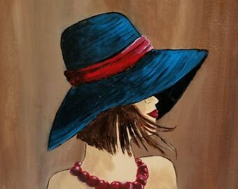 Fashionable Woman Art - Acrylic Painting - Clearance