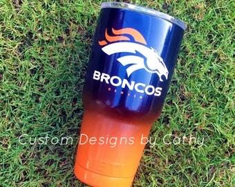 Denver Broncos powder coated Tumbler YETI RTIC OZARK