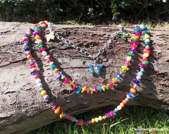 Multi Strand Necklace, Multi-Strand Necklace, 3 Strand Necklace, Triple Strand necklace, Gypsy Necklace, Rainbow Multi Strand Necklace