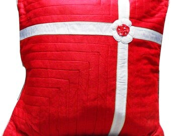 Decorative Cushion Cover Indian Home Decor Pillow Case Zipper Closure Gift Red White Designer Cushion Case 1 Pc