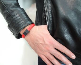 EXPRESS SHIPPING,Red Braided Leather Bracelet,Men's Leather Bracelet,Black Magnetic Clasp Bracelet,Gift for Him,Father's Day Gifts