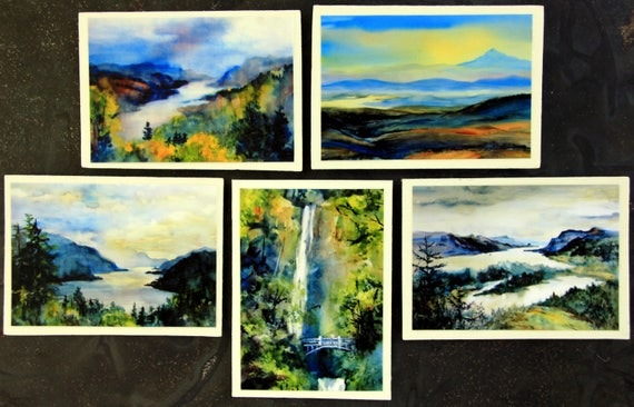 Columbia Gorge Magnets #1 - handmade, signed, 2.5 x 3.5, five magnets of the Columbia River Gorge