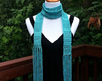 Skinny Scarf. Long Bohemian Turquoise Scarf. Fringe Scarf. Hippie Gypsy. Thin knitted Women's Fashion Accessory Vegan Friendly Gift for her