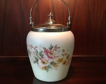 Victorian CF Monroe Wavecrest Lusterless Satin Hand Painted Glass Cracker Biscuit Jar