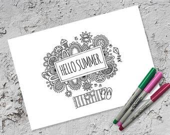 Hello Summer Colouring Page | Instant Digital Download | Original Doodle Design