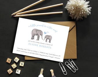 Elephant Baby Shower Invitation // Baby Shower Invite // Digital Invitation // Gender Neutral