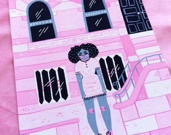 Pink House - Painting