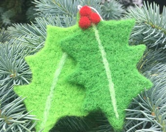Needle Felted Holly Ornament, Needle Felted Holly, Holly