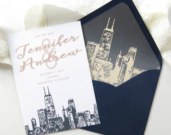 Chicago Skyline Save the Date Cards - A7 Size - Chicago Wedding Invitation Suite - Save the Date - PRINTED