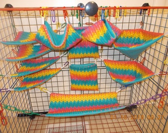 RAINBOW CHEVRON Sugar Glider 11 pc cage set