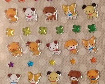 Mini DOG GEL Stickers/ Puppy Sticker Sheet/ planner and scrapbooking, very small stickers