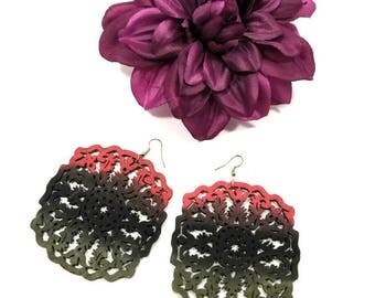 Handmade Earrings, Handcrafted Jewelry, Red Black Green, Afrocentric, Earrings