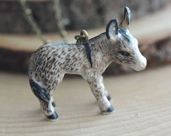 Hand Painted Porcelain Donkey Burro Necklace, Antique Bronze Chain, Vintage Style, Ceramic Animal Pendant & Chain (CA208)