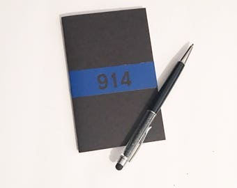 Thin Blue Line Pocket Notebook - Badge Number Personalization - Police Officer  - Thin Blue Line Collection
