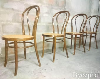 2 of 4 Vintage Bentwood Bistro Chairs Thonet Signed cane seat