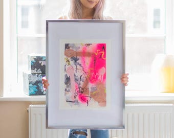 Framed Neon Pink & Rose Gold Abstract Mixed Media Original Artwork, 'PINK'
